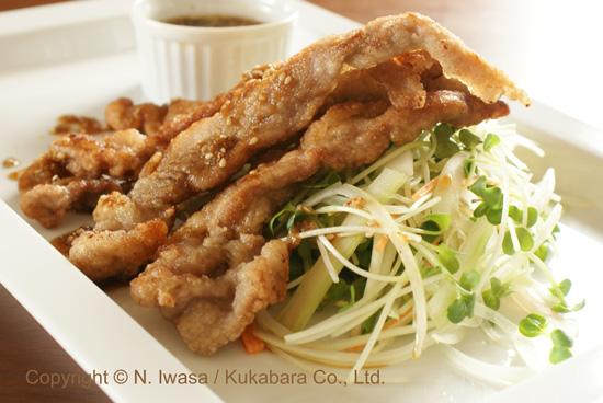 ユーカリはちみつレシピ豚肉の唐揚げ、サラダ風3