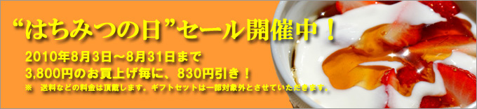 はちみつの日セール2010年8月