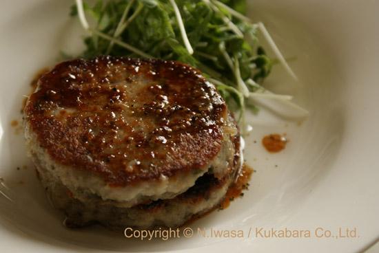 ユーカリはちみつマヌカはちみつレシピ「れんこんのハンバーグ」2