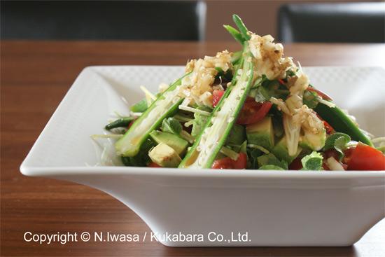 はちみつ入りアジア風ドレッシングで食べる夏のサラダ1